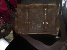 NEXT TOUGH BROWN LEATHER & CANVAS SHOULDER SATCHEL GOOD LARGE SIZE LOADS POCKETS